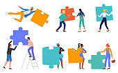 People hold puzzle jigsaw, challenge concept set, holding colorful puzzle pieces