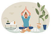 Yoga meditation at home, cartoon yogist character sitting in lotus position, meditating