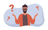 People think about difficult question, need advice, man standing near question symbols