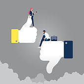Concept of thumbs up and down, like dislike for social network