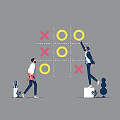 illustration vector of business strategy Decisions and competition concept
