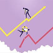 Business risk management concept, Finance decrease and crisis graph