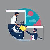 illustration for videoconference technology concept-Online meeting work form home
