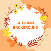 Autumn circle design, floral frame with leaves, flowers, wreath with autumn lettering