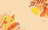 Autumn design with grass leaves, wild flowers, nature leaf plants in warm colors