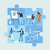 Business people work in office, meeting and communicating inside connected jigsaw pieces