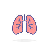 Lungs icon in filled outline style.