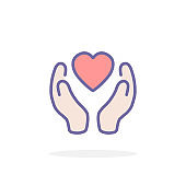 Heart in hand icon in filled outline style.