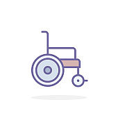 Wheelchair icon in filled outline style.