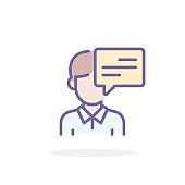 Talk icon in filled outline style.