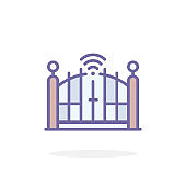 Automatic gate icon in filled outline style.