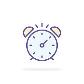 Alarm clock icon in filled outline style.