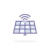 Solar panel icon in filled outline style.