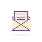 Open envelope icon in filled outline style.
