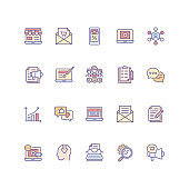 Set of marketing icons in filled outline style.