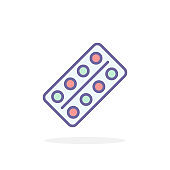 Pills icon in filled outline style.