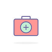 First aid kit icon in filled outline style.