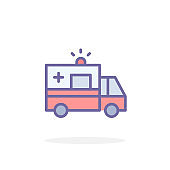 Ambulance icon in filled outline style.