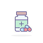 Pills bottle icon in filled outline style.