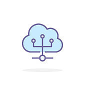 Cloud network icon in filled outline style.