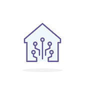 Smart home digital icon in filled outline style.