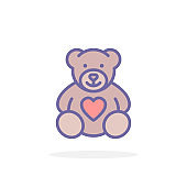 Teddy bear with heart icon in filled outline style.