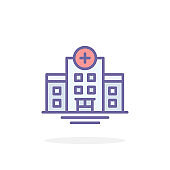 Hospital icon in filled outline style.