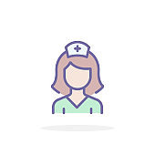 Nurse icon in filled outline style.