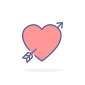Heart with arrow icon in filled outline style.