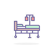 Hospital bed icon in filled outline style.