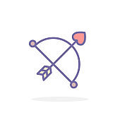 Cupid bow and arrow icon in filled outline style.