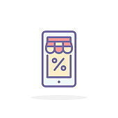 Mobile shopping icon in filled outline style.