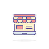 Online shopping icon in filled outline style.