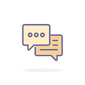 Speech bubble icon in filled outline style.