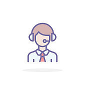 Call center icon in filled outline style.