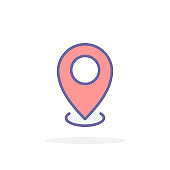 Map pointer icon in filled outline style.