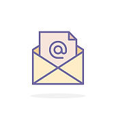 Mail icon in filled outline style.
