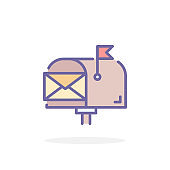 Mail box icon in filled outline style.