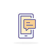 Phone chat icon in filled outline style.