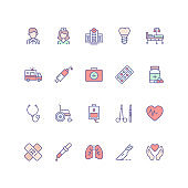 Set of medical icons in filled outline style.