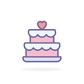 Wedding cake icon in filled outline style.