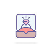 Ring in gift box icon in filled outline style.