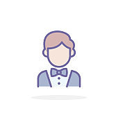 Groom icon in filled outline style.