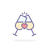 Champagne glasses icon in filled outline style.