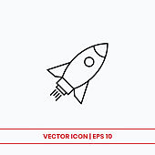 Rocket icon vector. Startup rocket sign