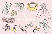 Collection of hand drawn hair accessories.