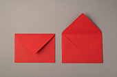 Overhead photo of two bright red envelopes isolated on the grey background