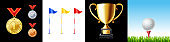 Golf icon set. Flag, ball, trophy cup and medal