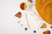 Top view photo of yellow knitted scarf cup of tea with lemon brown autumn leaves cinnamon sticks golden binder clips pencil and stylish glasses on copybook on isolated white background with copyspace