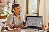 Businesswoman giving presentation on laptop in meeting